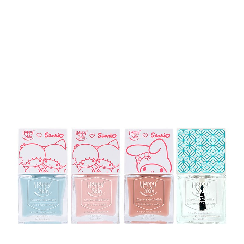 Happy Skin ♡ Sanrio Express Gel Polish Trio In Curious Kiki, Lala Love, And Peaches & Cream + Mirror-Shine Top Coat