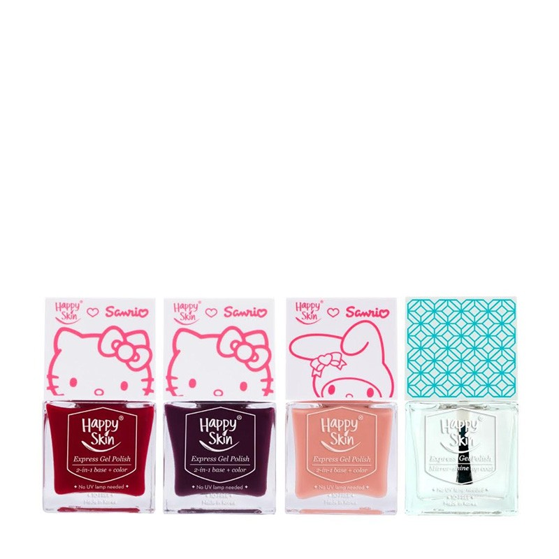 Happy Skin ♡ Sanrio Express Gel Polish Trio In Red Apples, Purr-Fect, And Peaches & Cream + Mirror-Shine Top Coat