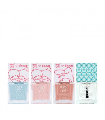Happy Skin ♥ Sanrio Express Gel Polish Trio In Curious Kiki, Lala Love, And Peaches & Cream + Mirror-Shine Top Coat