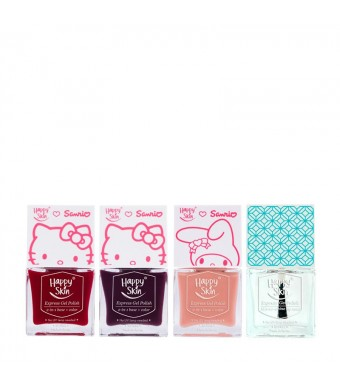 Happy Skin ♥ Sanrio Express Gel Polish Trio In Red Apples, Purr-Fect, And Peaches & Cream + Mirror-Shine Top Coat