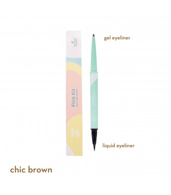 Happy Skin Flick Kit Liquid + Gel Eyeliner In Chic Brown