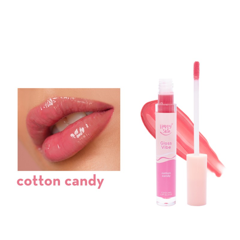 Happy Skin Gloss Vibe Cooling Lip Gloss In Cotton Candy