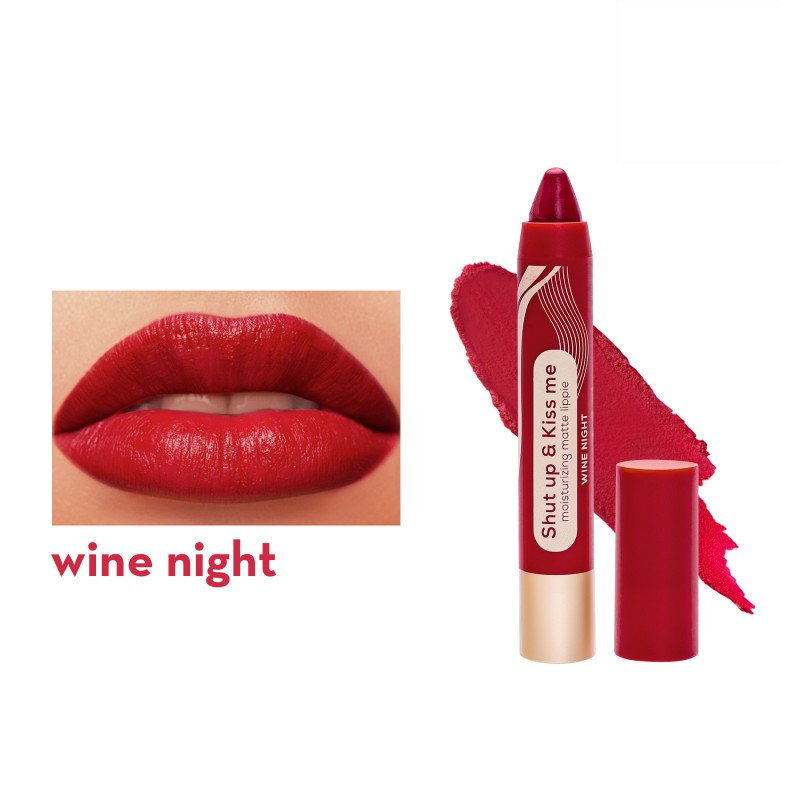 Happy Skin Shut Up & Kiss Me Moisturizing Matte Lippie In Wine Night