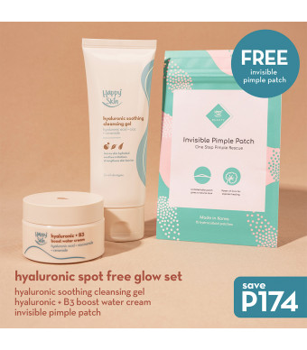 Happy Skin Hyaluronic Spot Free Glow Set (Cleansing Gel + Water Cream + Pimple Patch)
